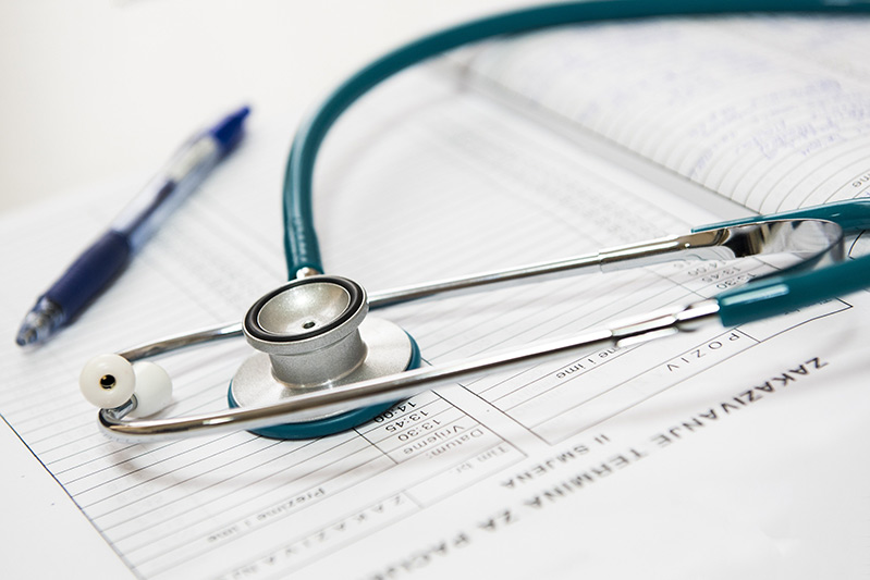 stethoscope on medical desk